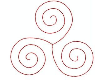 Machine Embroidery Design Instant Download - Celtic Knotwork Triskele 1 Quilting Redwork