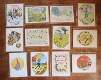 Calendar Cards - Set of 12 Cards - Just Because Note - Floral - Print Greeting Cards - Seasons - Monthly Cards - Spring Summer Fall Winter