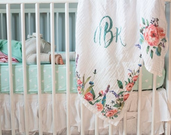 Floral swaddle - organic swaddle, personalized blanket, monogram baby, peonies blanket, organic receiving, natural baby, watercolor woods