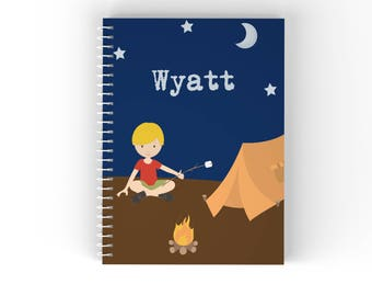 Camper Personalized Notebook - Camping Boy Girl Camper Night Sky Tent Fire with Name, Customized Spiral Notebook Back to School