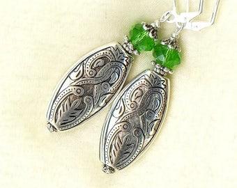 Earrings ARABESQUE Crystal PERIDOT green - OR294 ♥ ♥