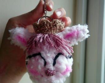 Bunny Princes crochet keychain , rabit keychain, amigurumi keychain