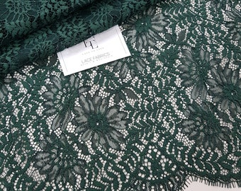 Green lace fabric by the yard, France Lace fabric, Alencon Lace, Bridal lace, Wedding Lace, Embroidery lace, Evening dress lace J773318