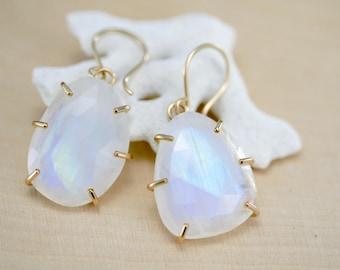moonstone earrings, rose cut moonstone dangle earrings, prong set gold fill,   Rachel Wilder Handmade Jewelry