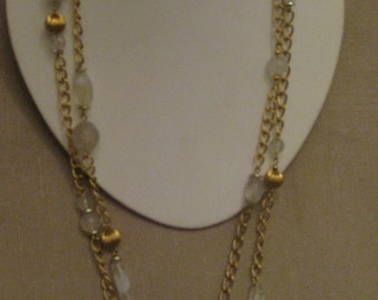 DOUBLE STRAND NECKLACE Strand Gold Tone Metal Chain Necklace Various Shaped Various Sized Lucite Beads Gold Tone Metal Textured Ribbed Beads