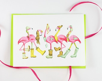 Pink Flamingos dressed for winter! Holiday card