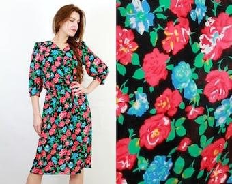 Floral Dress / Vintage Dress / Summer Dress / 70s Dress / Alexis Dress / Bohemian Dress / Boho Dress / Midi Dress / USA Dress / Large Dress