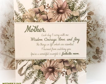 Mothers Day Card, Mom, Mom Birthday Card, Floral Blank Card - Fantastic Mom - Digital Download or Printed