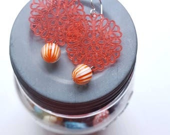 nudibranch earrings - vintage lucite and sterling - salmon pink orange stripes - lacy earrings