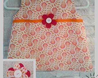 orange baby girls dress with inner lining and flower headband 3 months