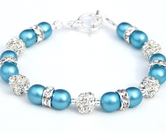 Carolina Blue Pearl Rhinestone Bridesmaid Bracelet, Bridesmaid Jewelry, Bridal Party, Bling Jewelry