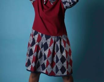 Vintage 70s Dress // Optic Argyle Print Double Knit Dropwaist School Dress // Vintage Plus Size Dress (sz 18 20)