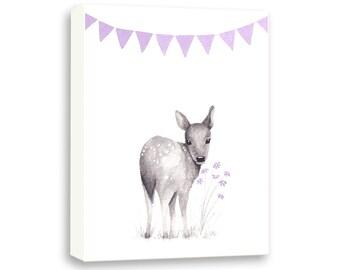 Woodland Nursery Art Canvas - Purple and Gray Nursery Decor - Deer Nursery Art - Baby Girl Nursery - Nursery Decor - Kids Art - CANVAS - DO1