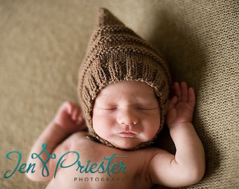 Pixie bonnet baby hat with chin strap and button hand knit brown newborn boy girl unigender photo photography prop