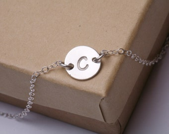 Monogram Initial Necklace, Tiny Initial Charm Sterling silver Necklace, simple daily jewelry, Birthday, Bridesmaid Necklaces