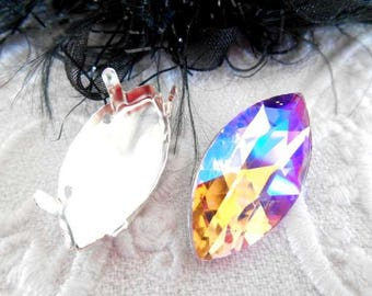 x 1 cabochon navette 27 mm pink faceted AB crystal.