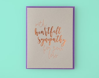 With Heartfelt Sympathy For You Loss Letterpress Greeting Card