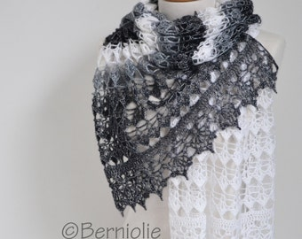Lace crochet shawl, Black, white, grey,  P425