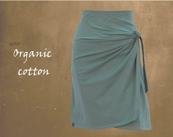 wrap skirt organic cotton, skirt GOTS certified biological cotton, sustainable clothing, fair trade clothing