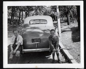 Vintage Snapshot Photo Kids on the Bumper 1940's, Original Found Photo, Vernacular Photography