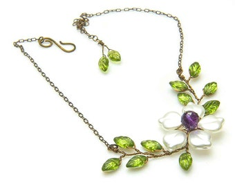 Purple and Green Flower Necklace with Amethyst,Twisted Wire Vine Jewelry with leaves, Rustic Wedding Jewelry, Beaded Nature Jewelry  N495