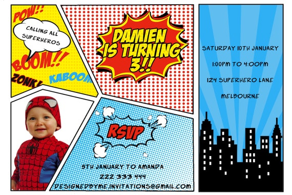 Fan image with regard to free printable superhero birthday invitation templates
