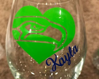 Hawk custom wine glass. Can do with or without stem