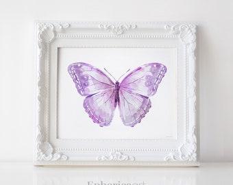 Lavender Purple Butterfly art print, Butterfly wall art, Butterfly decor print, Baby decor Nursery art, Lavender wall decor, Baby PRINTABLES