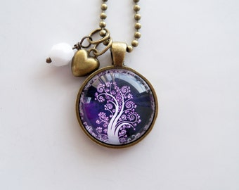 Tree of Life Necklace -Purple and White Tree Pendant -  You Choose Bead and Charm - Custom Jewelry - Photo Jewelry - Family Tree - Nature