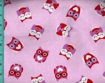 Owl Tossed Valentine Heart Fabric, Quilting Crafting Home Decor