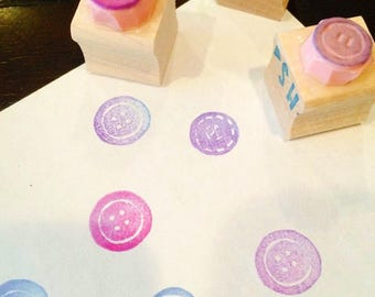 Button rubber stamp set//hand carved and hand crafted