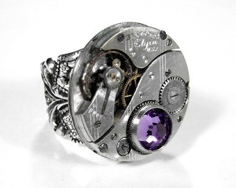 Steampunk Jewelry Ring ELGIN Watch Ring LILAC Swarovski Crystal Silver Base Birthstone Ring Fathers Day, Mothers Day - Jewelry by edmdesigns