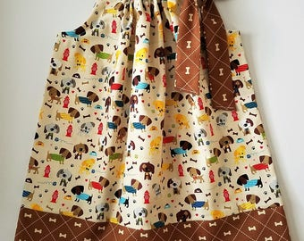 Pillowcase Dress with Dogs Girls Dresses Puppy Dog Dress with Puppies Rover Riley Blake Dog Clothes Puppy Clothes Dog Lovers Kids Clothes