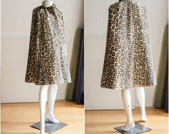 Leopard Print Cape |Wool Animal Print Cape |Vintage Wool Cape |Cape with Pockets |Leopard Print Coat |Animal Print Coat |Faux Animal Print