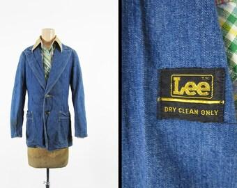 Vintage 70s Lee Denim Sportcoat Suit Jacket Retro Faded Belted Back - Size 36