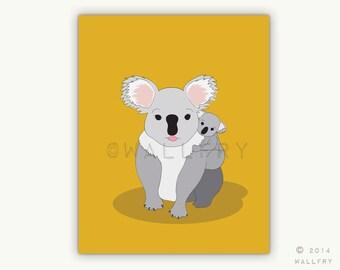 Koala and baby print for baby nursery decor. Aussie animals. Bush nursery. Australian animal nursery art. Koala print by WallFry