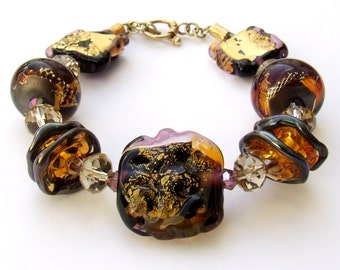 Only For 2 Days Reduced Price and Ready To Ship ! Golden Brown Lampwork Bracelet, Beaded Bracelet, Beadwork Bracelet, Lampwork Jewelry