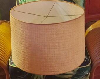Massive Mid-Century Style Custom Grasscloth ~ Bamboo Drum Lamp Shade