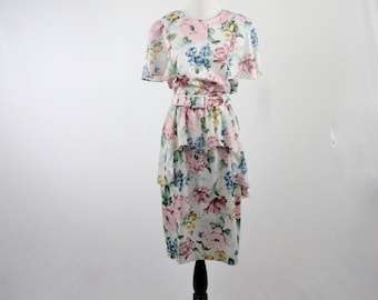 1980s Floral Peplum Dress Made in the USA