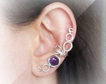 Silver Ear Cuff Purple Large Amethyst Ear Wrap