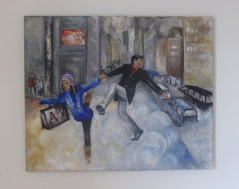 """The street dancers in the clouds Original Painting oil and acrylic figurative urban realist art portrait 28.74x 23.62"""" inch"""