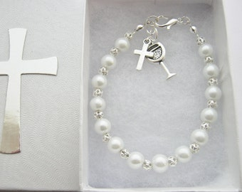 First Holy Communion Bracelet, First Communion Gifts,  Girls White Pearls Bracelet Religious Jewellery Holy Confirmation  Baptism Gifts