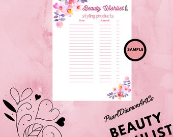 Beauty WishList Printable - Styling Products - A4 - Digital Download