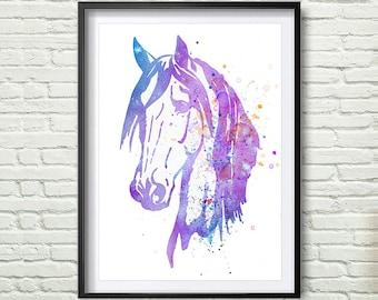 Horse Art Watercolor Print, Horse Painting Watercolor Art Print Home Decor, Colorful Animal Art *2*