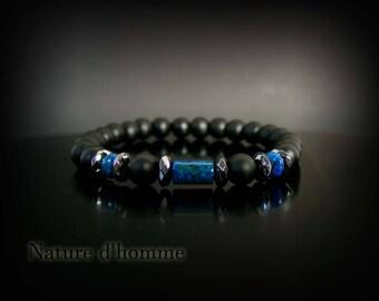 Jewelry men - Bracelet blue and black onyx, hematite and azurite Ref: BN-467