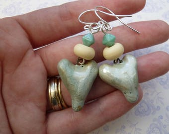 Handmade sterling silver lampwork and ceramic heart earrings, UK jewellery
