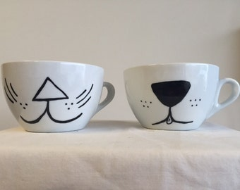 Kitty and puppy mug set