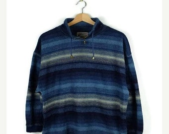 ON SALE Vintage Blue Stripe Pullover/Parka from 90's/Drawstrings