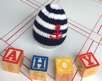 Summer Sailor newborn baby hat- knit baby hat- ready to ship newborn photo prop