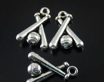 Baseball pendants etsy 3 pcs baseball charms ball and bat charms silver baseball pendants two sided aloadofball Gallery